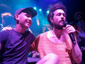 "Haden DeRoberts and Alex Ebert encourage fans to register for the national marrow registry during ""Home"" at Thalia Hall in Chicago."